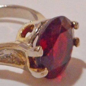 Gold Filigree Band Ring w/Sim. RUBY Solitaire